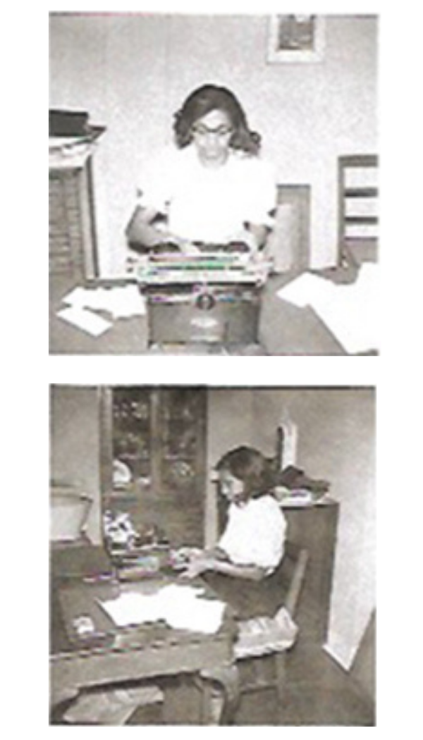 Two small black and white images of a young black woman working at a desk. Images are of Dorothy Bliss working at the DeWitt Historical Society in the 1950's.